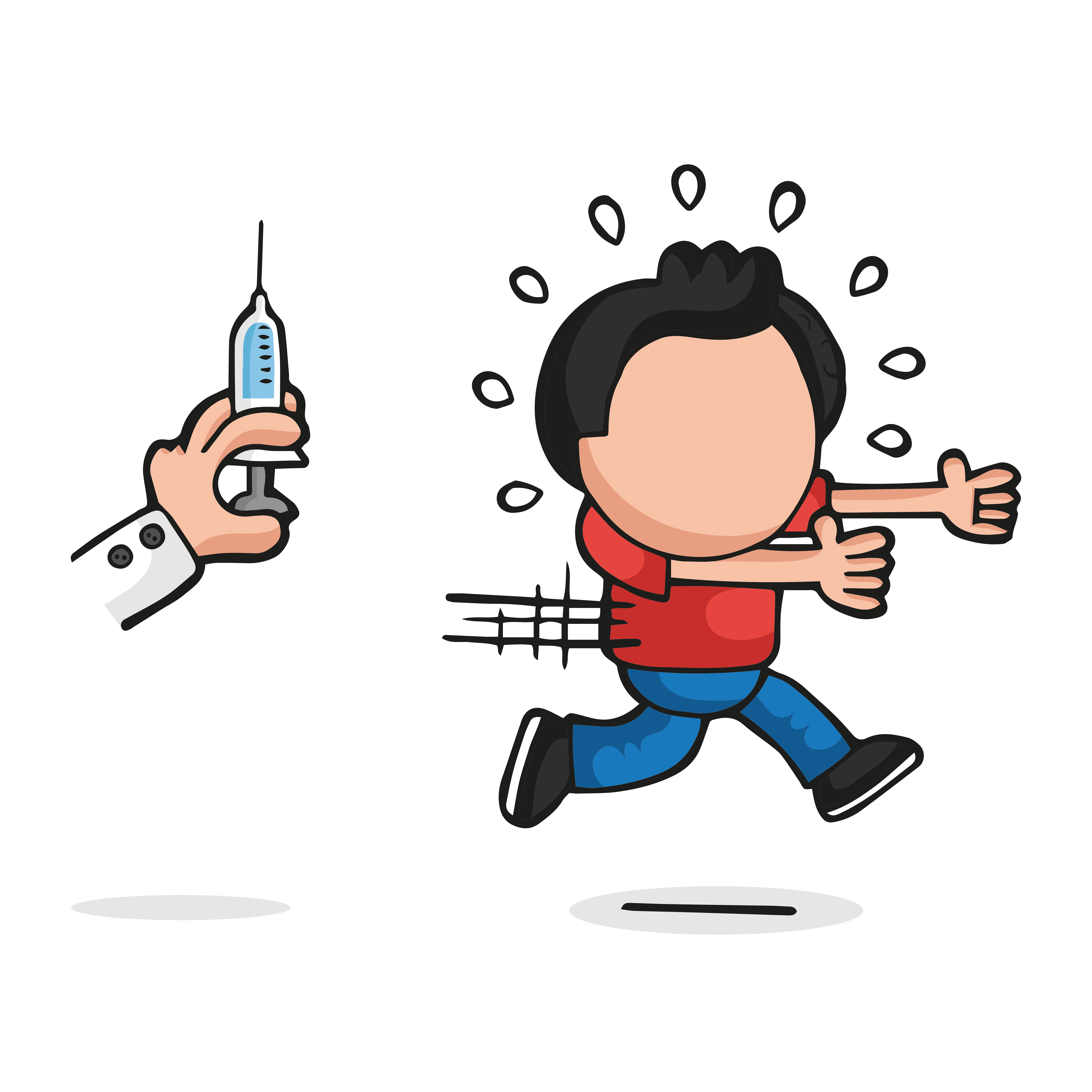 Vector hand-drawn cartoon illustration of man afraid and running from doctor's syringe.