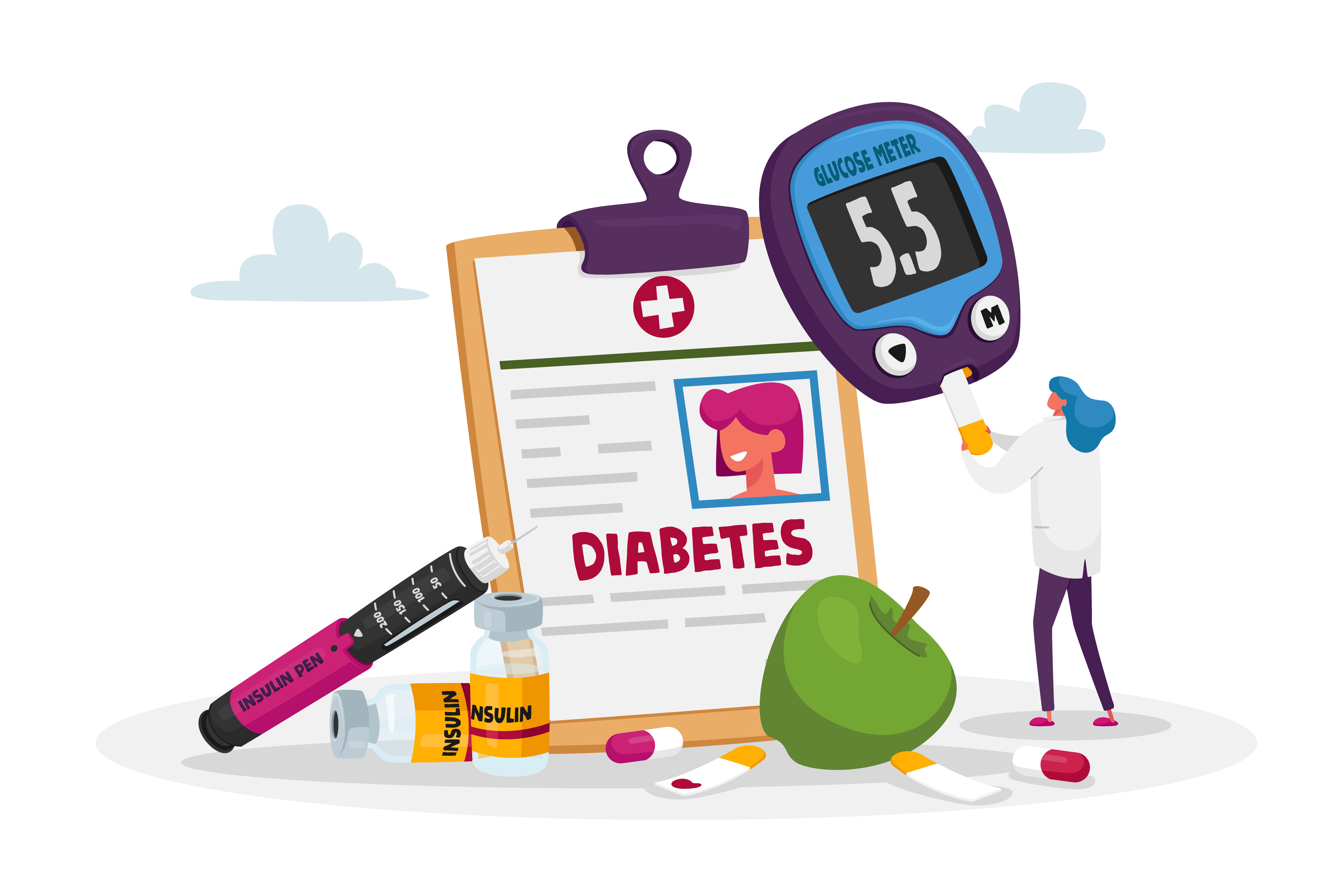 Tiny Doctor Female Character Insert Sample with Blood into Digital Glucose Meter to Control Diabetes Sickness. Huge Medicine Bottle, Insulin Pen and Apply for Healthy Life. Cartoon Vector Illustration